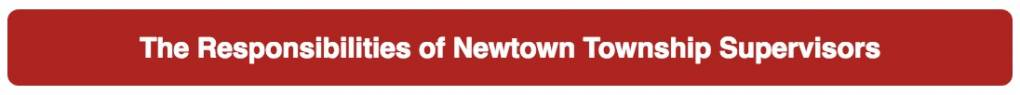 The Responsibilities of Newtown Township Supervisors